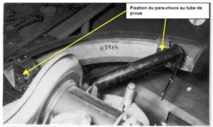 Fixation du pare-chocs au tube de Proue
